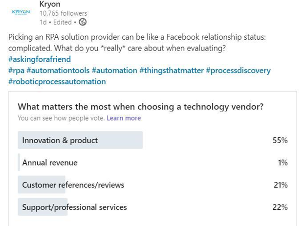 What matters the most when choosing a technology vendor
